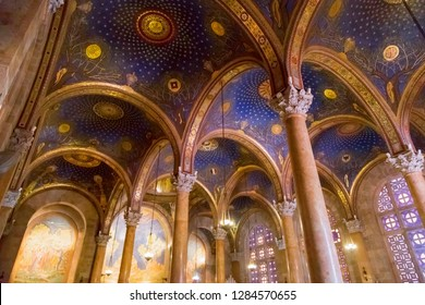 Interior view of the Church of All Nations or the Basilica of the Agony on the Mount of Olives, next to the Gardens of Gethsemane in Jerusalem, Israel.