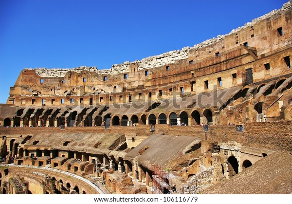 interior view of Coliseum in Rome