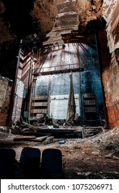 An interior view of the collapsing, derelict stage at the historic, abandoned (and now demolished) Paramount Theater in downtown Youngstown, Ohio.