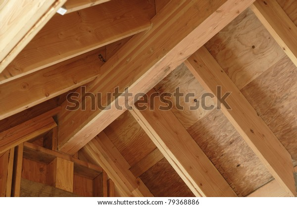 Interior View Construction Pitched Roof Showing Stock Photo
