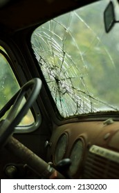 Interior view of cracked windshield