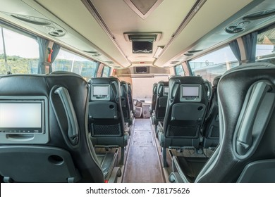 Interior view in detail of luxury bus