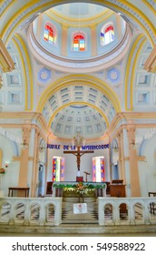 An interior view of The Eglise de Notre Dame des Anges church depicting Greco Roman architecture.This church is located in the french quarter in Pondicherry,India.Image date:9th July 2016