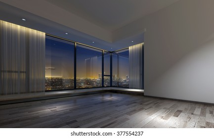 Interior view of empty dimly lit plush room with hardwood flooring and large windows facing city. 3d Rendering.