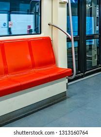 Interior view of empty seats at train in santiago de chile subway