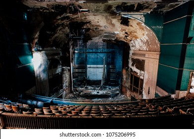 An interior view of the historic, abandoned (and now demolished) Paramount Theater in downtown Youngstown, Ohio.
