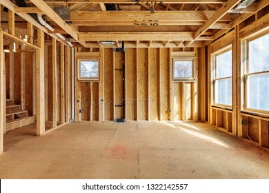 Interior view of a house with framing materials