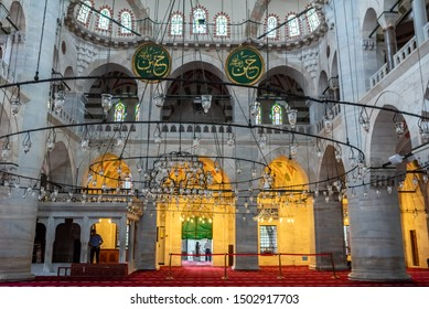 Interior view of Kilic Ali Pasha Mosque that is part of Ali Pasha Complex, built between 1580 and 1587 by Mimar Sinan in Beyoglu,Istanbul,Turkey.25 July 2019