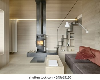 interior view of living room with staircase ,wood paneling and fireplace in rustic house