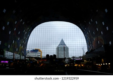 Interior view of Markthal, a modern dutch marketplace Rotterdam, Netherland on Oct. 29, 2018