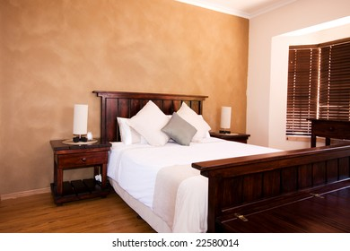 Interior view of master bedroom of a family home