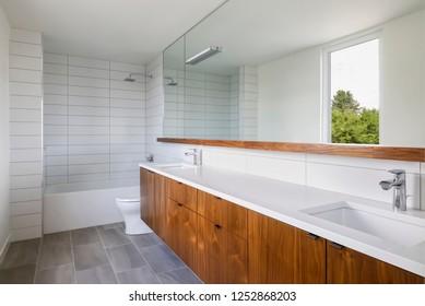 Interior view of a mid-century modern bathroom