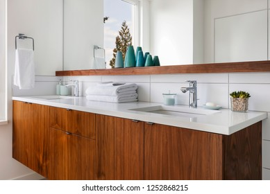 Interior view of a mid-century modern bathroom