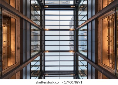 Interior view of modern architecture. Building abstract background