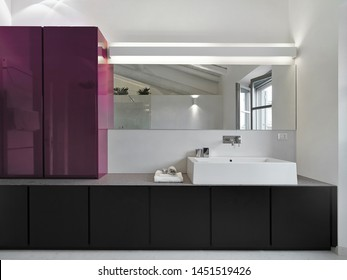 interior view of modern bathroom in foreground the washbasin