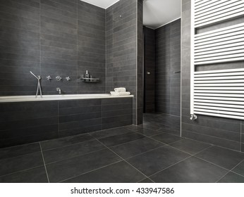 interior view of a modern bathroom in foreground the bathtub