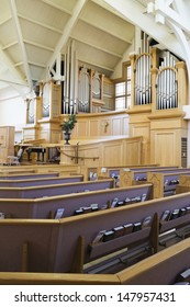 Interior view of a modern church with empty pews