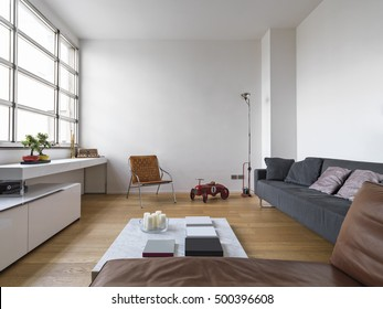 interior view of a modern living room with wooden floor a fabric sofa and toys