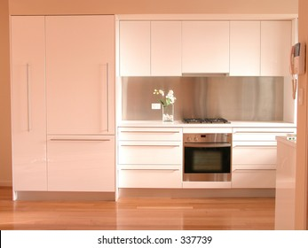 Interior view of a new kitchen renovation