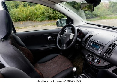 Interior view of Nissan Note 2007, Steering wheel mainly. NIZHNY NOVGOROD, RUSSIA - SEPTEMBER 07, 2016: Parked the car in the center of city open by owner and specially prepared for taking pictures.