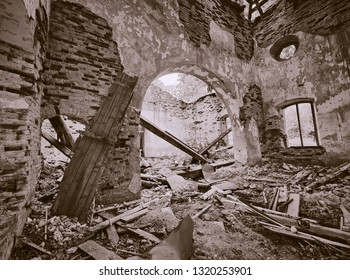 Interior view of the old abandoned St. Nicholas Church ruins in Estonia. Green forest covering the beauty of this ancient ruined building. Sepia colored.