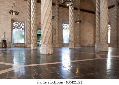 Interior view of the Old Silk Exchange (Lonja de la Seda), Valencia, Spain. UNESCO World Heritage Site.