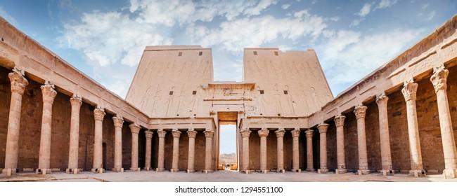Interior view of a pylon of Edfu. The Temple of Edfu, Nubia, Egypt.