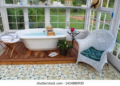 Interior View of Soaking Tub in Greenhouse