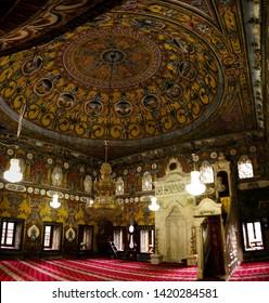interior view to Spotted Mosque Alaca Cami Kalkandelen aka painted mosque - 07 may 2017 Tetovo, North Macedonia