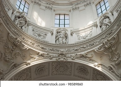 Interior View of Stucco Decoration in High Baroque Style