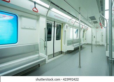 Interior view of a subway car