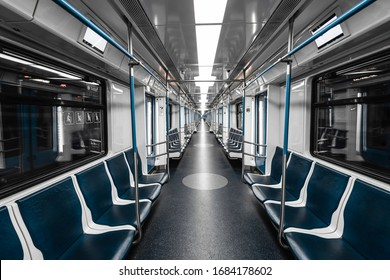 Interior view of a subway. Empty subway transport.