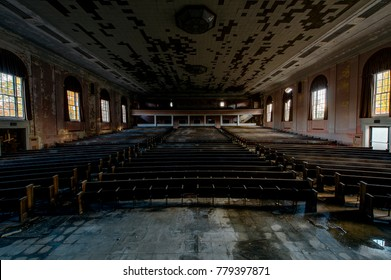 An interior view of the theater / auditorium at the abandoned Laurelton State School and Hospital in the central mountains of Pennsylvania.
