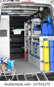 Interior view of tool utility service van