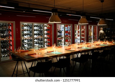 Interior view of wine bar in Brussels, Belgium on Dec. 6, 2018