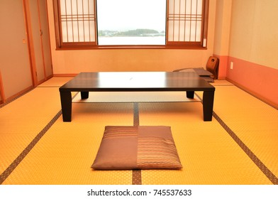 The interior vintage room in Japanese styles combine a living room and a bedroom to be in room that use Ryokan style for sleeping and have the unique decor pattern