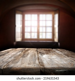interior of vintage table place and window with sun light