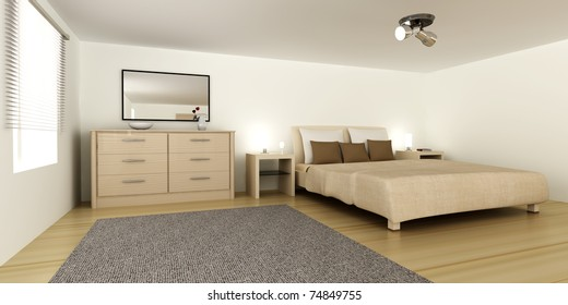 Interior visualization of a Bedroom. 3D rendered Illustration.