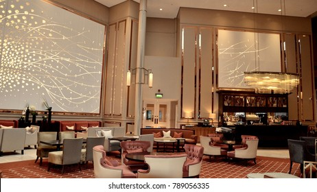Interior of the Waldorf Astoria Edinburgh, formally known as the Caledonian hotel. Luxury hotel on Princes street. Edinburgh Scotland UK. January 2018