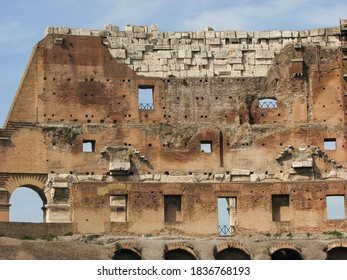 An interior wall of The Colosseum, also known as the Flavian Amphitheatre, in Rome. It was built in 70–80 AD and was used for gladiatorial contests and public spectacles.