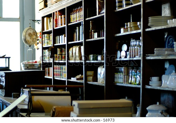 The interior wall of an old-fashioned merchant store.