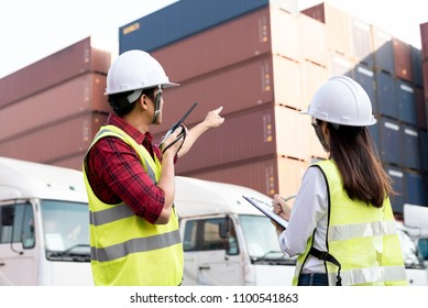 interior of a warehouse and Business Logistics concept, Cargo freight ship for Logistic Import Export background, internet of things