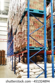 interior of warehouse. Factory warehouse shelf ready for supply to production line and customer