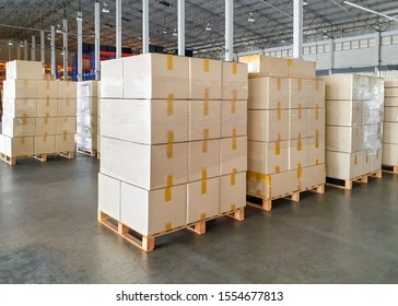 Interior of warehouse with stack package boxes on pallets, Warehouse industry delivery shipment goods, Logistics and transport