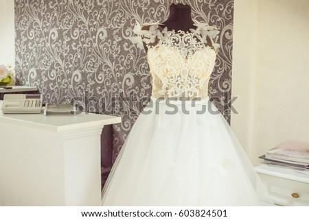 Interior Wedding Shop Wedding Dress On Stock Photo Edit Now