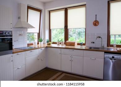 Interior of white modern kitchen