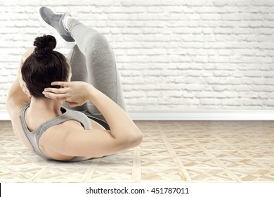 interior with white wall and sport time and woman and free place