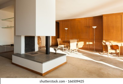 interior wide apartment, living room with fireplace
