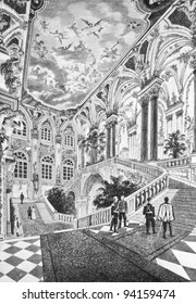 The interior of the Winter Palace in St. Petersburg. Engraving by Rashevsky from picture by painter Kitaev. Published in magazine