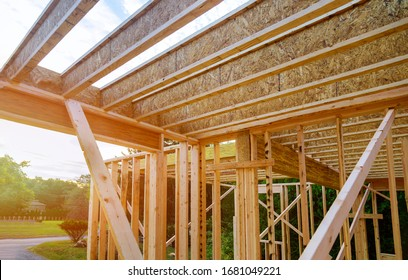 Interior with wood framing beam of new house under construction